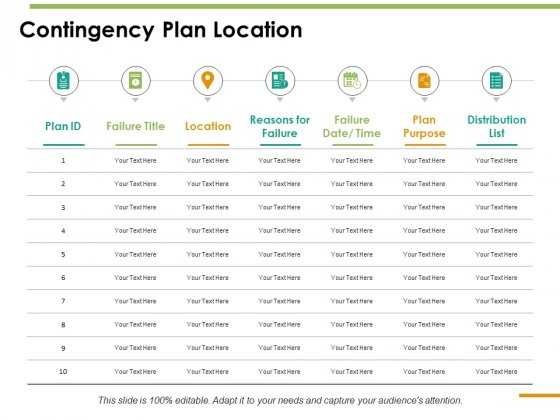 Contingency Plan Location Ppt PowerPoint Presentation Show Objects