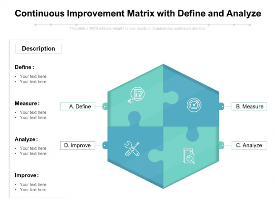 Continuous Improvement Matrix With Define And Analyze Ppt PowerPoint Presentation Icon Graphics Template PDF