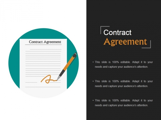 Contract Agreement Template 1 Ppt PowerPoint Presentation Visual Aids