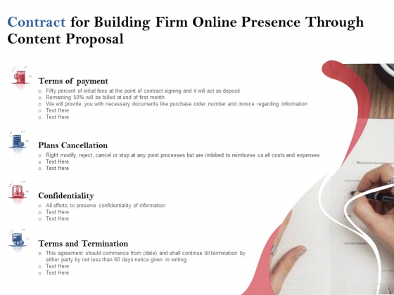 Contract For Building Firm Online Presence Through Content Proposal Ppt PowerPoint Presentation Portfolio Mockup