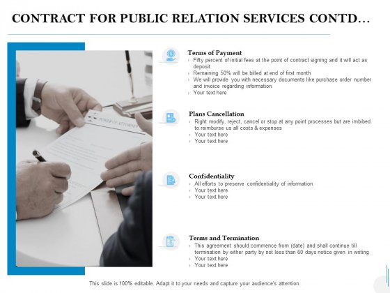 Contract For Public Relation Services Contd Ppt PowerPoint Presentation Icon Template