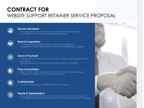 Contract For Website Support Retainer Service Proposal Ppt PowerPoint Presentation Outline Show