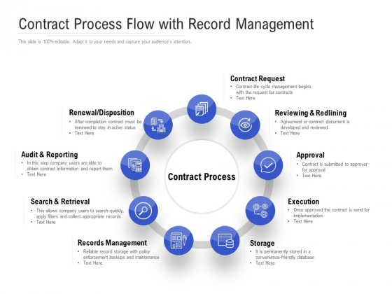 Contract Process Flow With Record Management Ppt PowerPoint Presentation Diagram Templates