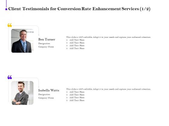 Conversion_Rate_Optimization_Client_Testimonials_For_Conversion_Rate_Enhancement_Services_Topics_PDF_Slide_1
