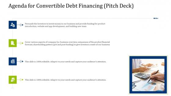 Convertible Debt Financing Pitch Deck Agenda For Convertible Debt Financing Pitch Deck Mockup PDF