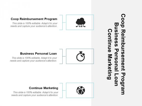 Coop Reimbursement Program Business Personal Loan Continue Marketing Ppt PowerPoint Presentation Outline Slideshow