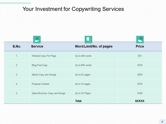 Copywriting_Service_Proposal_Ppt_PowerPoint_Presentation_Complete_Deck_With_Slides_Slide_8