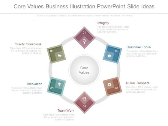 Core Values Business Illustration Powerpoint Slide Ideas