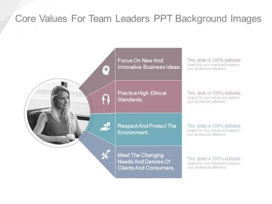 Core Values For Team Leaders Ppt Background Images
