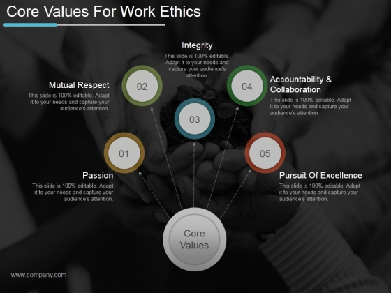Core Values For Work Ethics Ppt PowerPoint Presentation Guidelines