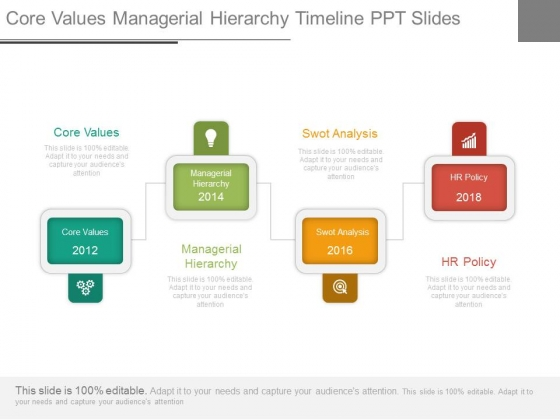 Core Values Managerial Hierarchy Timeline Ppt Slides