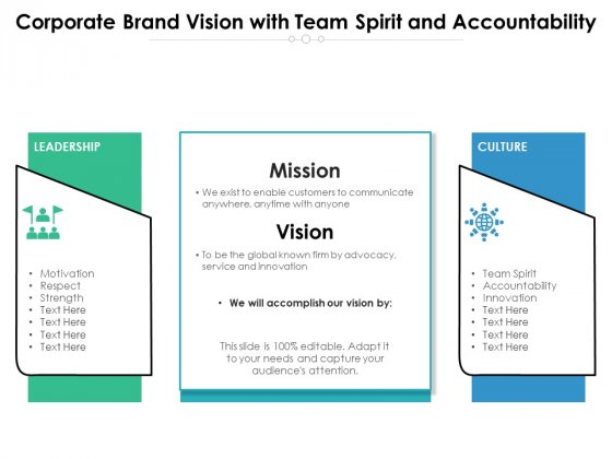 Corporate Brand Vision With Team Spirit And Accountability Ppt PowerPoint Presentation File Background Image PDF