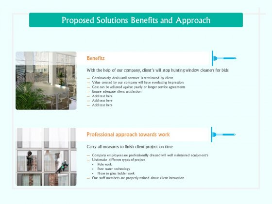 Corporate Building Window Cleaning Process Proposed Solutions Benefits And Approach Ppt Icon Grid PDF