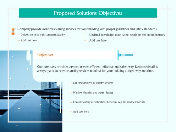 Corporate Building Window Cleaning Process Proposed Solutions Objectives Ppt Show Designs PDF