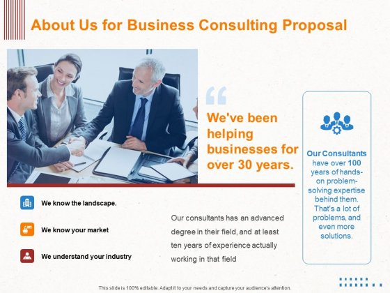 Corporate Consulting About Us For Business Consulting Proposal Ppt Infographics Files PDF
