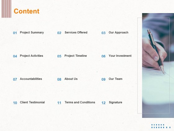 Corporate Consulting Content Ppt Summary Introduction PDF