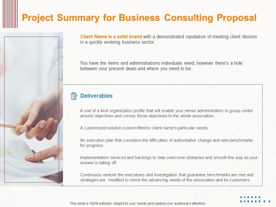 Corporate Consulting Project Summary For Business Consulting Proposal Ppt Outline Objects PDF