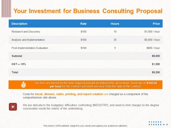 Corporate Consulting Your Investment For Business Consulting Proposal Ppt Summary Vector PDF