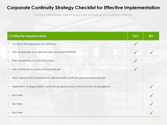 Corporate Continuity Strategy Checklist For Effective Implementation Ppt PowerPoint Presentation Icon Gallery PDF