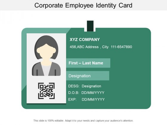 Corporate Employee Identity Card Ppt PowerPoint Presentation Ideas Samples