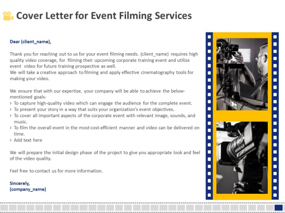Corporate Event Filming Cover Letter For Event Filming Services Ppt Gallery Graphics Download PDF