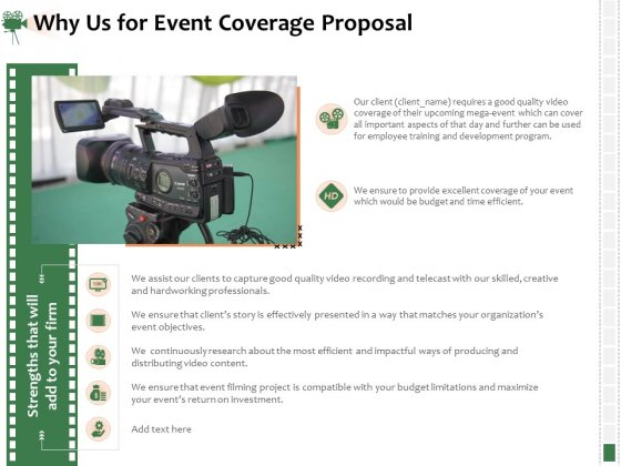 Corporate Event Videography Proposal Why Us For Event Coverage Proposal Microsoft PDF