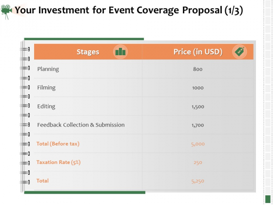 Corporate_Event_Videography_Proposal_Your_Investment_For_Event_Coverage_Proposal_Filming_Infographics_PDF_Slide_1