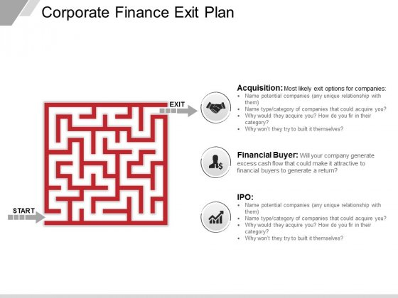 Corporate Finance Exit Plan Ppt PowerPoint Presentation Show Icon