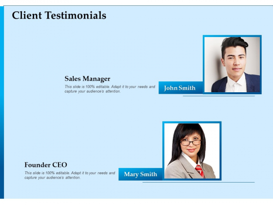 Corporate Fundraising Ideas And Strategies Client Testimonials Ppt Infographic Template Images PDF