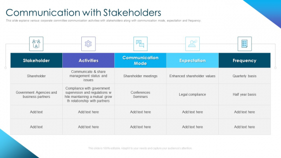 Corporate_Governance_Best_Practices_Communication_With_Stakeholders_Icons_PDF_Slide_1
