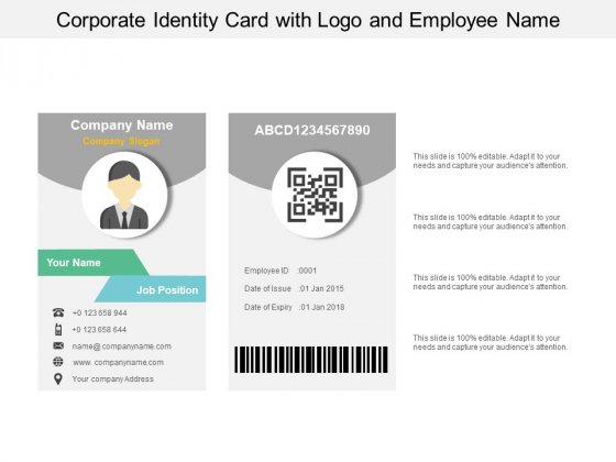 Corporate Identity Card With Logo And Employee Name Ppt PowerPoint Presentation File Ideas
