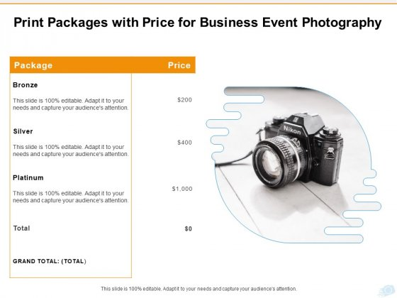 Corporate Occasion Videography Proposal Print Packages With Price For Business Event Photography Microsoft PDF