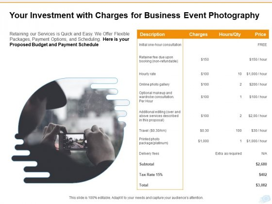 Corporate Occasion Videography Proposal Your Investment With Charges For Business Event Photography Rules PDF