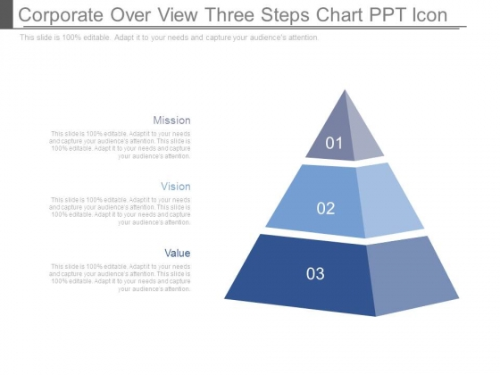 Corporate Over View Three Steps Chart Ppt Icon