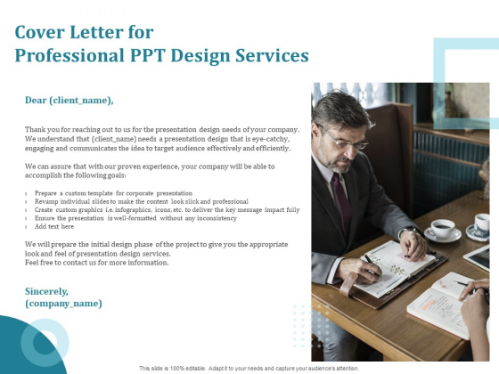 Corporate PPT Design Cover Letter For Professional PPT Design Services Ppt Infographic Template Graphic Tips PDF