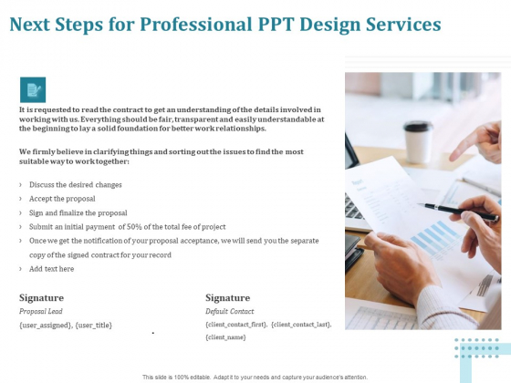 Corporate PPT Design Next Steps For Professional PPT Design Services Ppt Portfolio Icon PDF