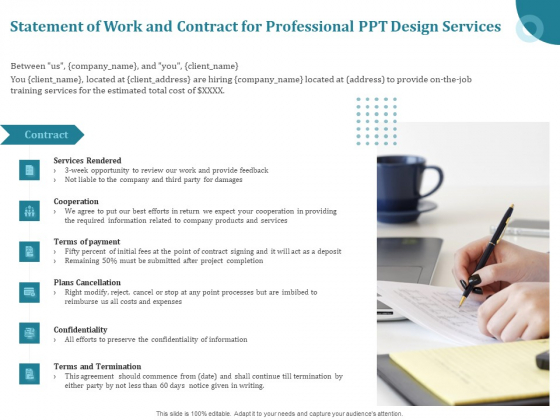 Corporate PPT Design Statement Of Work And Contract For Professional PPT Design Services Microsoft PDF