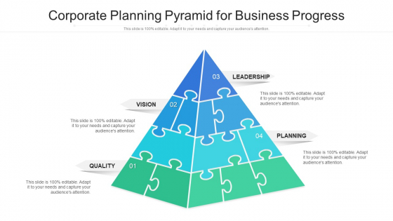 Corporate Planning Pyramid For Business Progress Ppt PowerPoint Presentation File Slide Download PDF