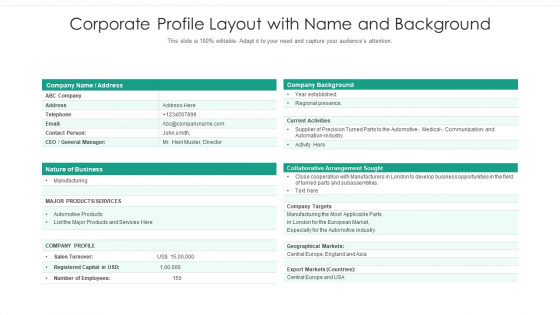 Corporate Profile Layout With Name And Background Ppt Ideas Summary PDF