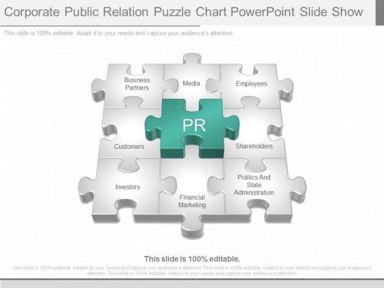 Corporate Public Relation Puzzle Chart Powerpoint Slide Show