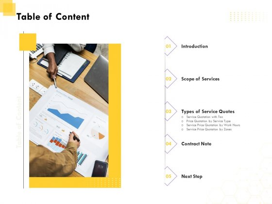 Corporate Service Quote Table Of Content Ppt PowerPoint Presentation Layouts Inspiration PDF