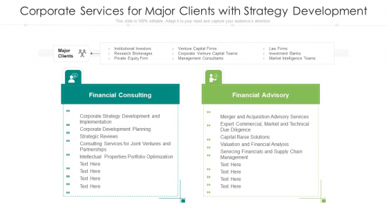 Corporate Services For Major Clients With Strategy Development Ppt Outline Gridlines PDF