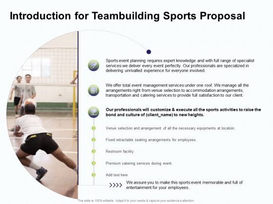Corporate Sports Team Engagement Introduction For Teambuilding Sports Proposal Sample PDF