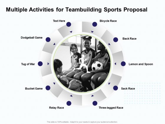 Corporate Sports Team Engagement Multiple Activities For Teambuilding Sports Proposal Diagrams PDF