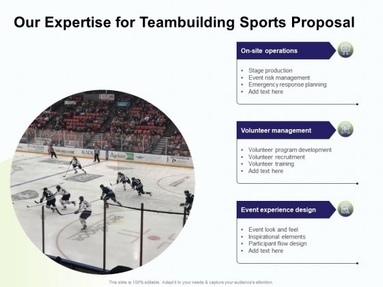 Corporate Sports Team Engagement Our Expertise For Teambuilding Sports Proposal Background PDF