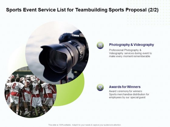 Corporate Sports Team Engagement Sports Event Service List For Teambuilding Sports Proposal Designs PDF