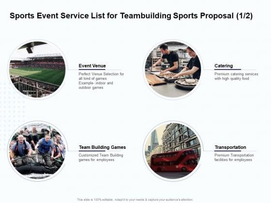 Corporate Sports Team Engagement Sports Event Service List For Teambuilding Sports Proposal Venue Diagrams PDF