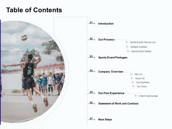 Corporate Sports Team Engagement Table Of Contents Information PDF