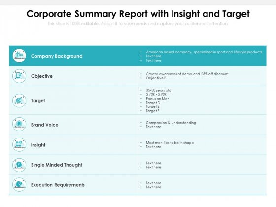 Corporate Summary Report With Insight And Target Ppt PowerPoint Presentation Icon Pictures PDF