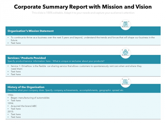 Corporate Summary Report With Mission And Vision Ppt PowerPoint Presentation File Examples PDF